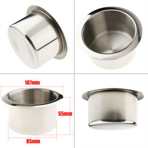 2x Stainless Cup Drink Holder Boat Rv Car Marine Black Plastic Recessed Drop In