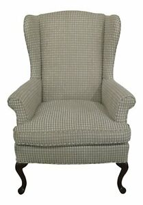 47697ec Queen Anne Mahogany Upholstered Wing Back Easy Chair