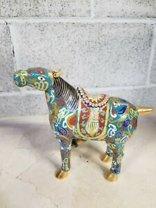 Chinese Collectible Old Copper Carve Cloisonne Horse Big Handwork Rare Statue
