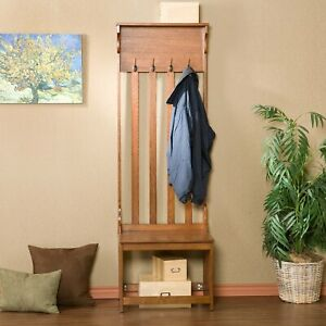 Hall Tree Entry Bench With Four Double Hooks One Shelf One Underseat Corral