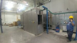 Used Powder Paint Sys 3 stage Ss Wash Dry off cure Oven Conveyor