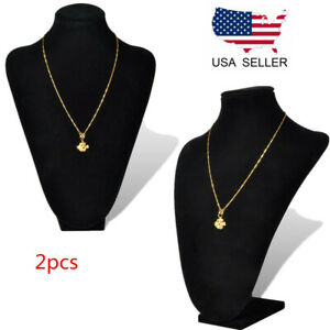 2x Black Mannequin Velvet Bust Necklace Pendant Jewelry Display Stand Holder Usa