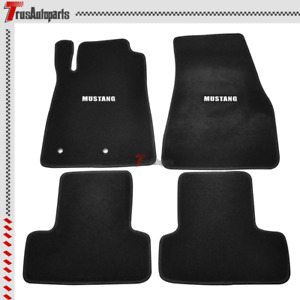 For 05 09 Ford Mustang 2dr Black Nylon Floor Mats Front Rear Carpets W Badge