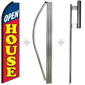 Open House 15 Tall Swooper Flag Pole Kit Feather Super Banner