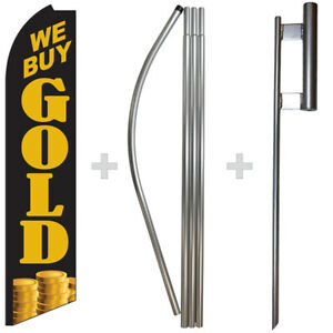 We Buy Gold 15 Tall Swooper Flag Pole Kit Feather Super Banner