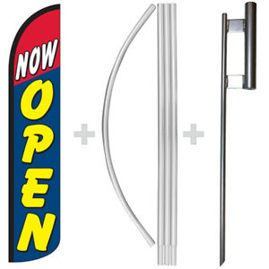 Now Open 15 Tall Windless Swooper Feather Flag Pole Kit