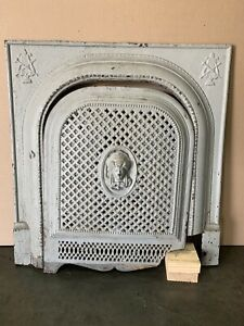 Antique Painted Cast Iron Fireplace Summer Cover Vintage Victorian Pc 1800s
