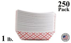 250 Pack 1lb Red Check Paper Food Trays Baskets Snack Server Recyclable Usa Made
