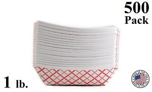 500 Pack 1lb Red Check Paper Food Trays Baskets Snack Server Recyclable Usa Made