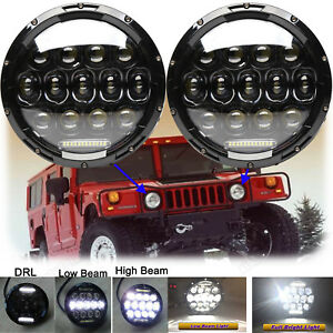 2x 7 150w Total Led Headlights H4 H13 High low Drl For Hummer Am General H1 H2