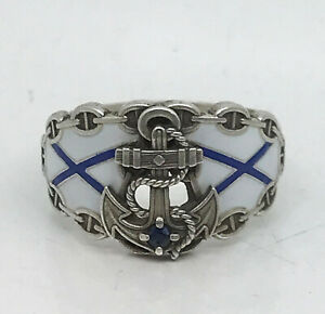 Russian Imperial 88 Silver Enamel Navy Ring With Sapphire By August Holming