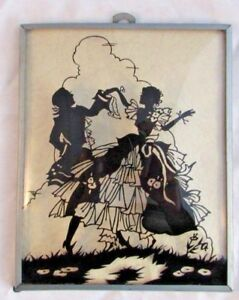 Antique Silhouette Picture Convex Glass Lovers Framed Vintage