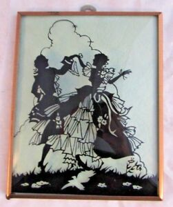 Antique Silhouette Picture Convex Glass Young Dancing Lovers Framed Vintage
