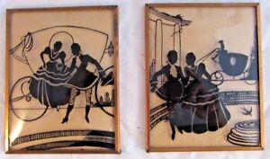 Lot Of 2 Antique Silhouette Pictures Convex Glass Lovers Framed Vintage