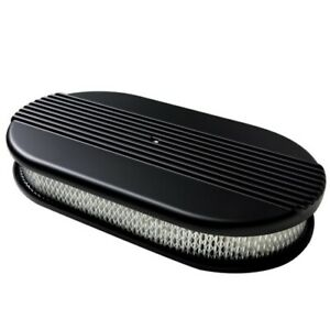 Billet Specialties Ribbed Black Aluminum Air Cleaner large Oval filter Element