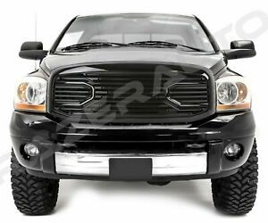 Front Gloss Black Big Horn Grille replacement Shell Fit 06 09 Dodge Ram 2500 350