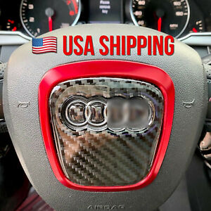 Carbon Fiber Steering Wheel Insert Emblem Badge Sticker Cf Audi A4l A5 A6 Q5 Q7