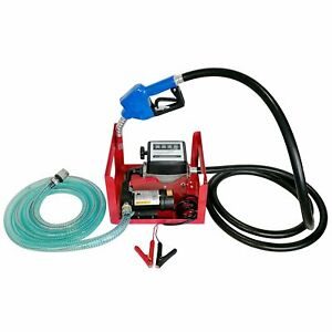 12v Dc 155w Electric Fuel Transfer Pump W Hose Nozzle And Mechanical Fuel Meter