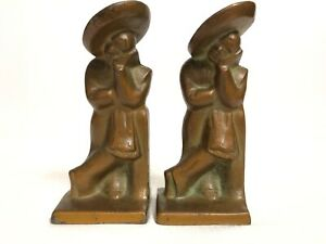 Antique Hubley Cast Iron Metal Lazy Pedro Siesta Figural Bookends 493 Made Usa