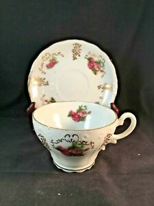 Vintage Lefton Japan Hand Painted Fine Bone China Scalloped Tea Cup
