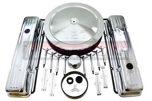 Washable Sbc Chevy Chrome 327 Logo Air Cleaner Engine Dress Up Kit Small Block