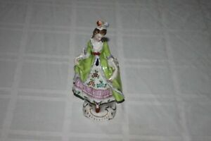 Antique Sitzendorf Porcelain Lady Figurine Green Dress With Floral 6 5 Germany