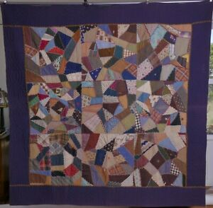Antique Crazy Quilt Hand Embroidered Stitched Pieced Textile Fabric Vintage
