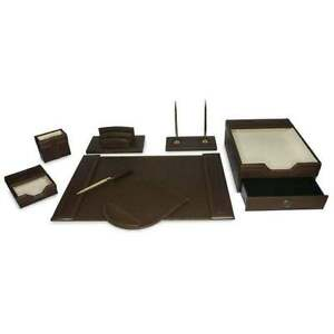 Leather Desk Organizer Storage Set With Double Stack Letter Tray 8 Piece Brown