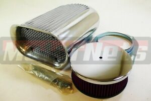 Polish Hilborn Finned Aluminum Hood Scoop Kit Air Cleaner 4 Barrel Carb Washable