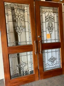 Clear Beveled Leaded Glass French Doors Interior Solid Wood Good Condition