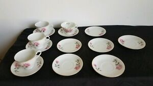Antique Vintage Pink Rose Bone China Gold Trim Tea Cups And Saucers Japan 14 Pc