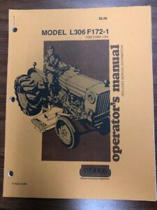 Woods Finish Mower L306 F172 1 Operator s Manual For Ford 1720 10 88