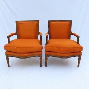A Pair Of Louis Xvi Style Fruitwood Armchairs French 1950s Down Filled Fauteuil