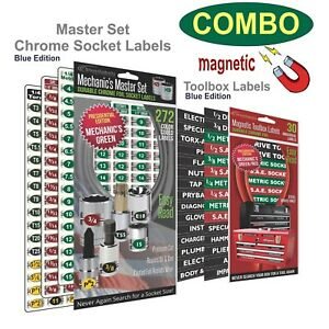 Magnetic Toolbox Mechanics Master Socket Set Chrome Foil Labels Green Edition