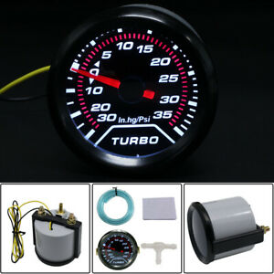 52mm 2 Led Turbo Boost Press Pressure Vacuum Gauge Meter Psi Smoke Face Tint Us