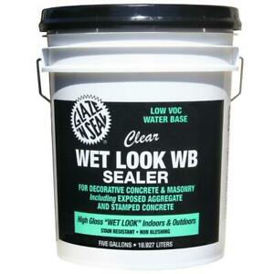 5 Gallon Clear Wet Look Low Voc Non yellowing Water Base Concrete Masonry Sealer