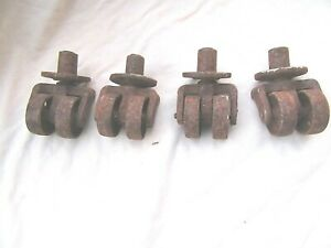4 Vintage Cast Iron Double Wheel Swivel Casters 3 Wheels Old Industrial
