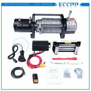10000lbs Electric Winch 12v 80 3 8 Steel Cable 4 way Fairlead Offroad Vehicle