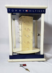 Vintage Tommy Hilfiger Store Counter Display Case 4 Sided Spinning Rotating Key