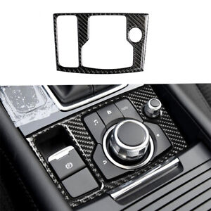 Carbon Fiber Interior Multimedia Button Cover Trim For Mazda 3 Axela 2017 2018