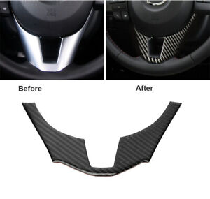 Carbon Fiber Interior Steering Wheel Trim Cover Fit For Mazda 3 Axela 2014 2016
