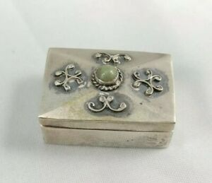 Small Hinged Mexican Sterling Silver Pill Box Trinket Green Turquoise Signed