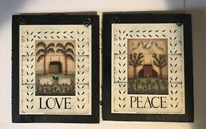 Love Peace Saltbox House Sheep Kitchen Sign Country Vintage Inspiration Decor