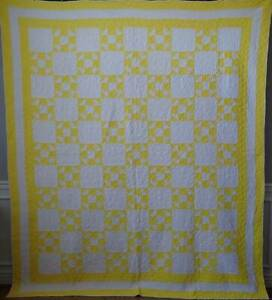 Vibrant Cheery Yellow Vintage 30s Shoo Fly Quilt 95x83 Illinois Quilt Project