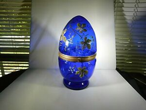 Victorian Cobalt Glass Egg Wine Liquor Decanter Late 1800s 1900s