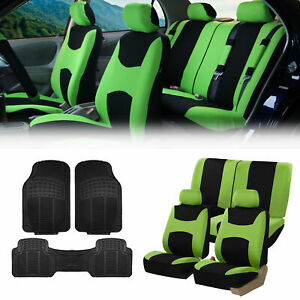 Green Black Car Seat Covers Full Set For Auto W 2 Headrests Rubber Floor Mats