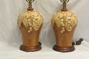 Frederick Cooper Pair Of Table Lamps Fruit Leave S