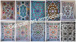 Vintage Suzani Hand Embroidered Quilt Twin Blanket Throw Wholesale Lot 5 Pc