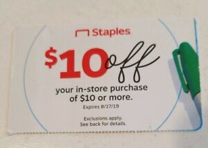 Staples Coupons 10 10 Off 10 Or More In Stores Purchase Exp 8 17