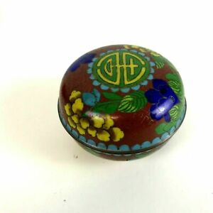 Antique Chinese Cloisonne Round Covered Box W Flowers